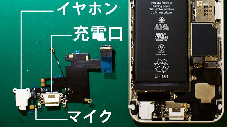 ドックコネクターの詳細画像。充電口はいろいろな部品が接続されている